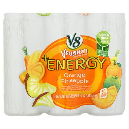 V8 V Fusion Vegetable   Fruit  Energy Orange Pineapple 6 X 8 Fl  Oz   48 Fl  Oz