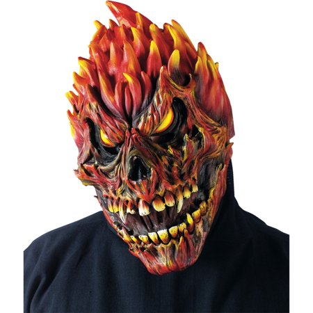 Morris Costumes Fearsome Faces Horror Scary Fire Latex Skull Mask, Style FW93218S](Scary Latex Mask)
