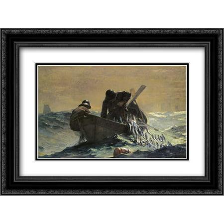 The Herring Net 2x Matted 24x18 Black Ornate Framed Art Print by Homer, Winslow