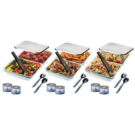 Disposable Chafing Pans Dish Set - 30-Piece Buffet Serving Chafer Combo Includes Full Size and Half Size Aluminum Steam Table Pans with Lids, Gel Fuel Cans and Serving Utensils (Pan Warmers)