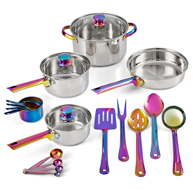 Mainstays Iridescent Stainless Steel 20 Piece Cookware Set With Kitchen Utensils And Tools Walmart Com Walmart Com