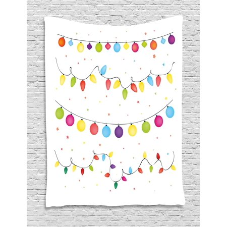 Kids Christmas Tapestry, Preparations for Party of the Year Theme Festive Occasion Happy Event Xmas, Wall Hanging for Bedroom Living Room Dorm Decor, 40W X 60L Inches, Multicolor, by Ambesonne (Themed Events)