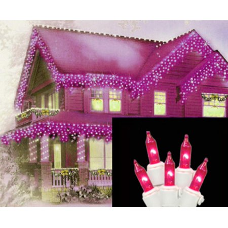 set of 100 pink icicle christmas lights white wire