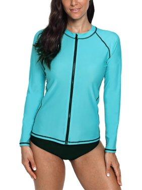 Charmo Rash Guard for Women Zip Front Long Sleeve Rashguard Top Sun Protection Swim Shirt