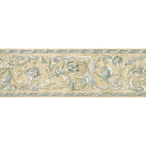 Blue Mountain Floral Scroll Wallpaper Border, Stone-Like Border with Powder Blue
