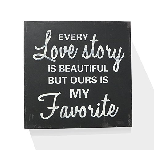 "Every Love Story Is Beautiful Wooden Box Wall Art Sign, Primitive Country Farmhouse Home Decor Sign With Sayings 8"" x 8"" By Barnyard Designs"