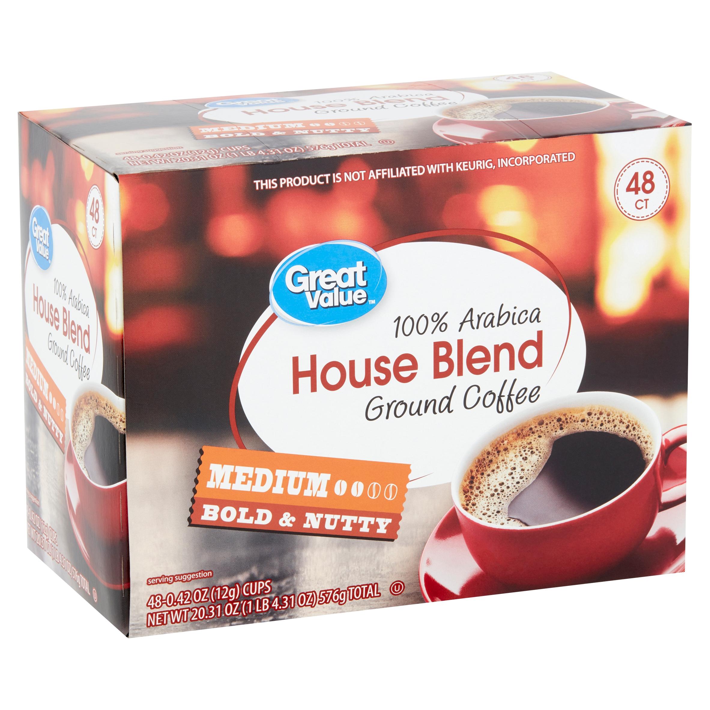 Great Value 100% Arabica House Blend Medium Ground Coffee, 0.42 oz, 48 count