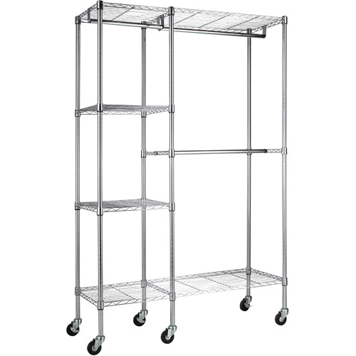 """Muscle Rack 48""""W x 18""""D x 74""""H Mobile Wire Garment Rack, Chrome"""