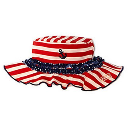 Rei Sun Hat - Azul Girls Red White Stripe In The Navy Ruffle Accent Stylish Sun Hat