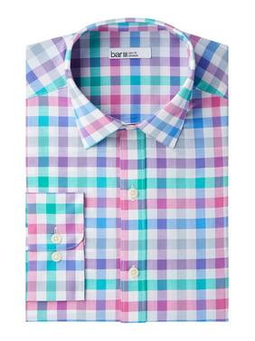 Blue Mens Medium Check Print Slim Fit Dress Shirt M