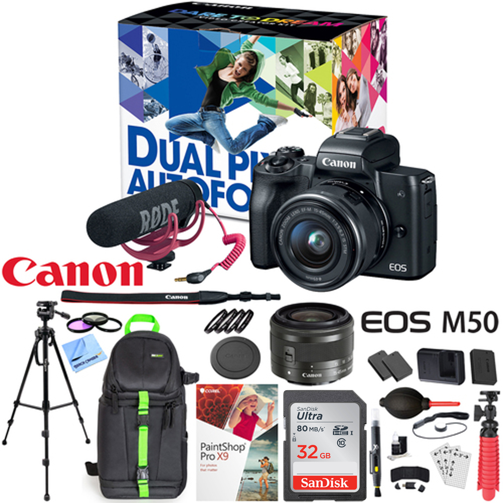 Canon EOS M50 Video Creator Kit with EF-M 15-45mm Lens, 4K Video Capture, Rode VIDEOMIC GO, and Deluxe 32GB Triple Battery Bundle with Backpack, Tripod and More