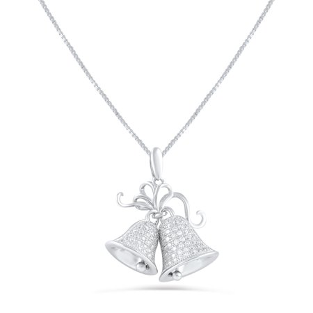 Sterling Silver Cz Christmas Bells Necklace 18