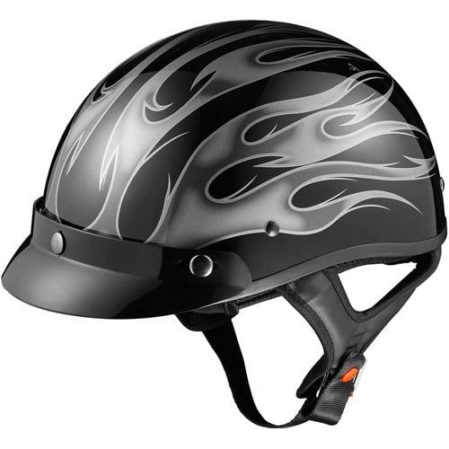 GLX DOT Half Motorcycle Helmet, Flame Silver, L