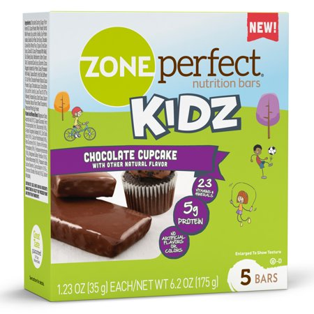 ZonePerfect Kidz Nutrition Bars, Chocolate Cupcake, 1.23 oz, 30 Count, No Artificial Flavors or Colors