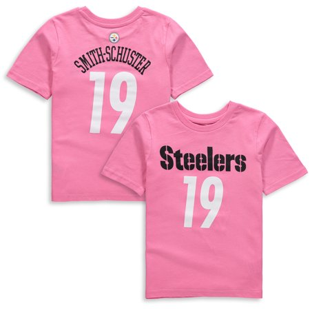 low priced 62282 ca7a1 JuJu Smith-Schuster Pittsburgh Steelers Girls Preschool Player Mainliner  Name & Number T-Shirt - Pink