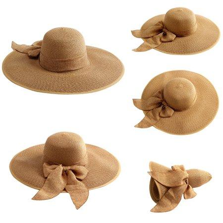ca34d63cfa7 Smartoo LLC - Khaki Women Floppy Hat Big Bowknot Straw Hat Wide Brim ...