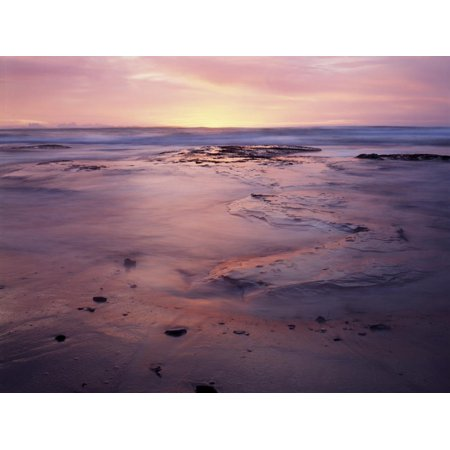 USA, California, San Diego, Sunset on Sand and Rocks Print Wall Art By Christopher Talbot Frank