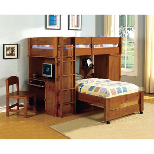 Furniture of America  Carmenie Twin over Twin Loft Bed wi...
