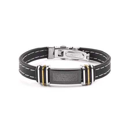 Gold Two Tone Stainless Steel Lord's Prayer ID Plate Rubber (Two Tone Steel Bracelet)