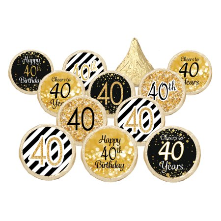 40th birthday party decoration stickers gold and black for 40th birthday decoration packs