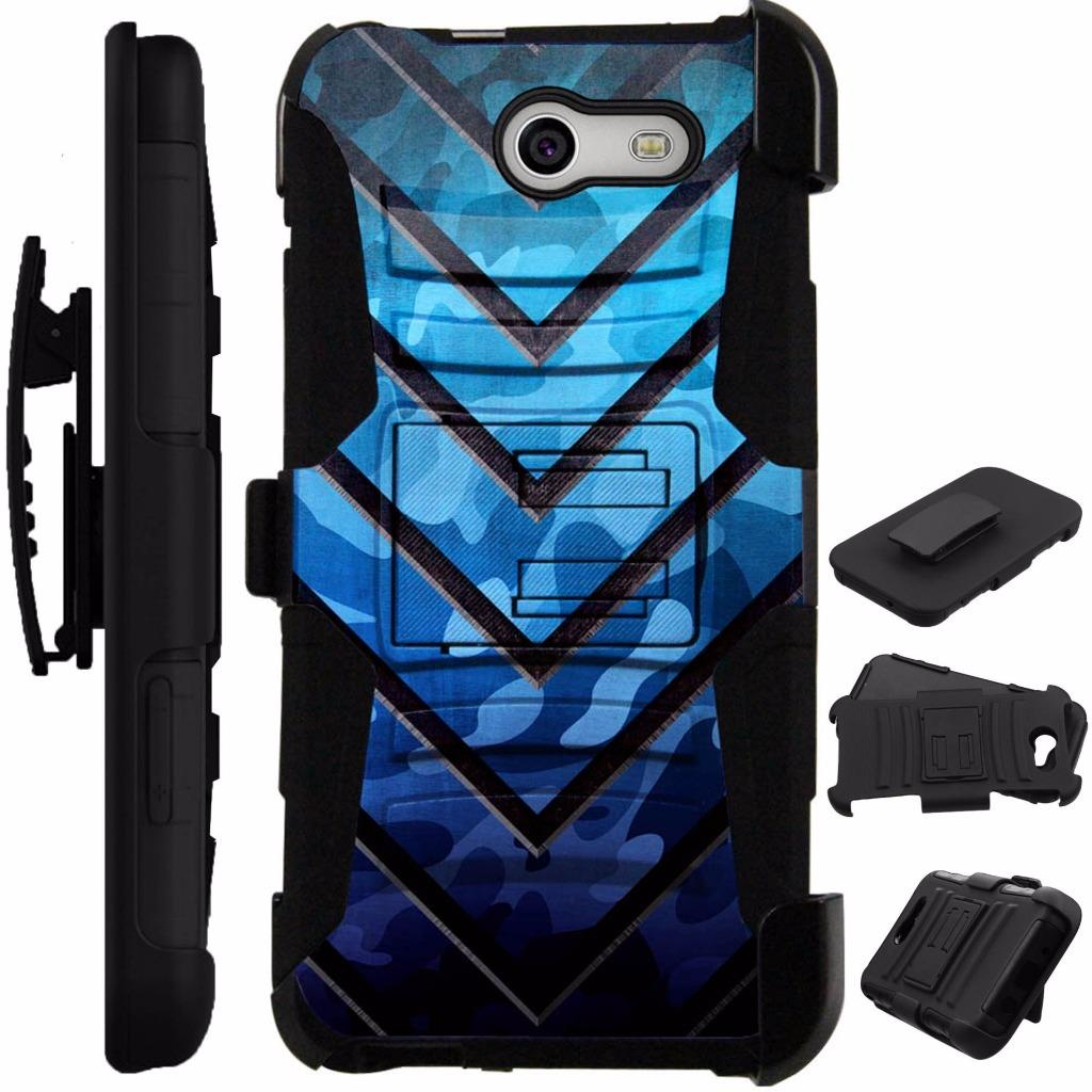For Alcatel Zip Case Heavy Duty Cover Kick Stand LuxGuard Holster (Metal V Blue)