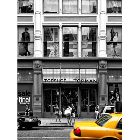Urban Scene, Yellow Taxi, Topshop Store Front, Broadway, Soho, Manhattan, New York Colors Print Wall Art By Philippe (Broadway New York Store)