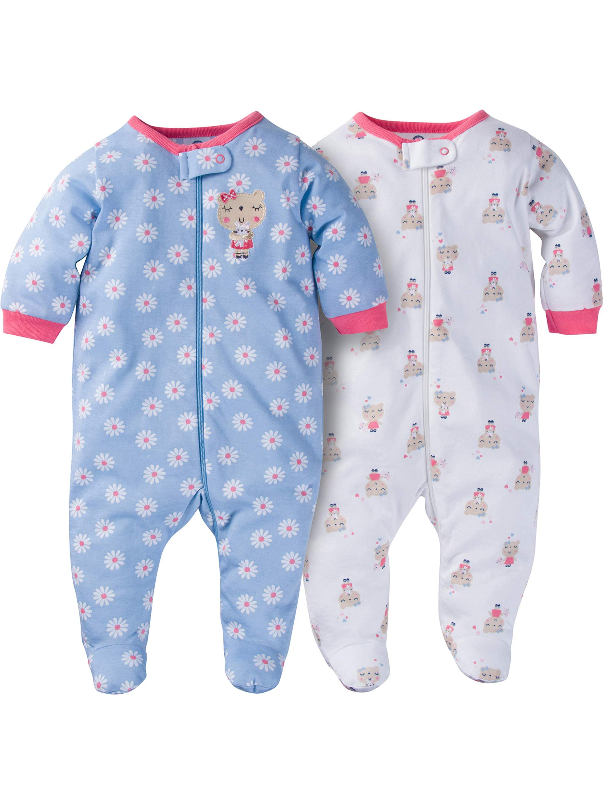 3765833794 Gerber - Newborn Baby Girl Zip Front Sleep N Play Footed Sleepers
