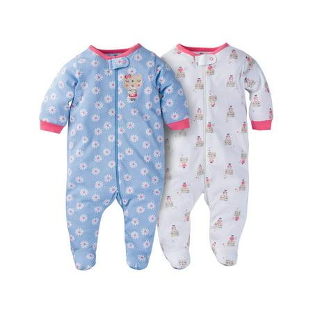 6008eed9c8b7 Gerber - Newborn Baby Girl Zip Front Sleep N Play Footed Sleepers