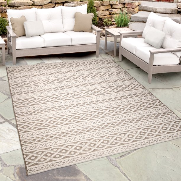 Orian Rugs Indoor Outdoor Knit Organic Cable Area Rug Walmart Com Walmart Com
