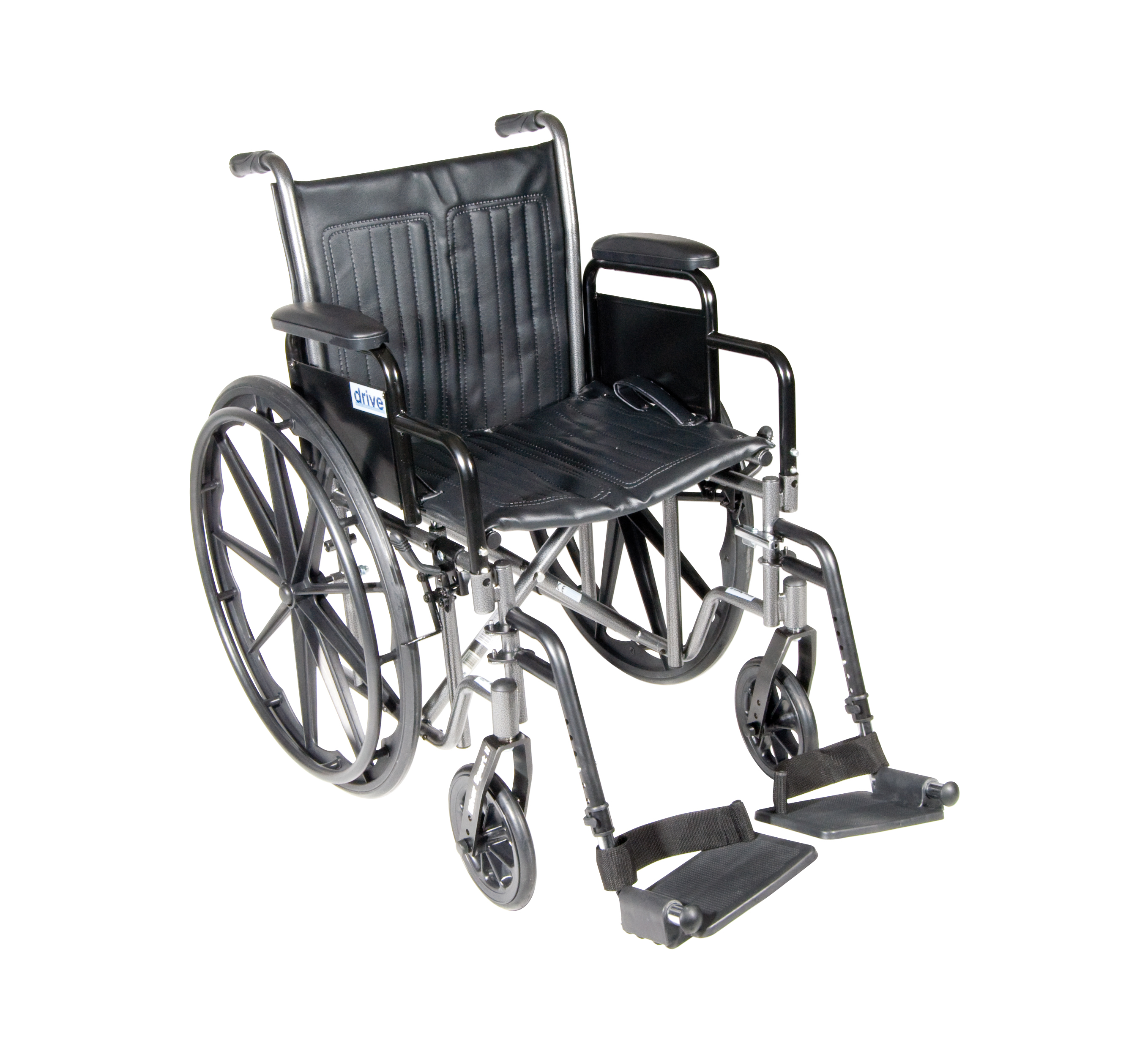 """Drive Medical Silver Sport 2 Wheelchair, Detachable Desk Arms, Swing away Footrests, 20"""" Seat"""