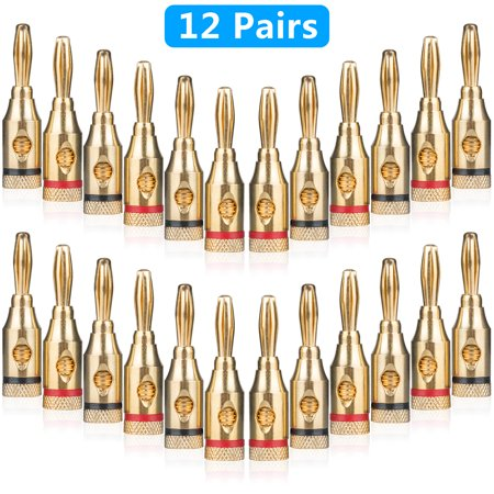 24-pack Speaker Male Banana Plugs, 24K Gold Plated Audio Jack Wire Cable Screw Connectors, for Musical Audio Speaker Wire & Audio/ Video Receiver
