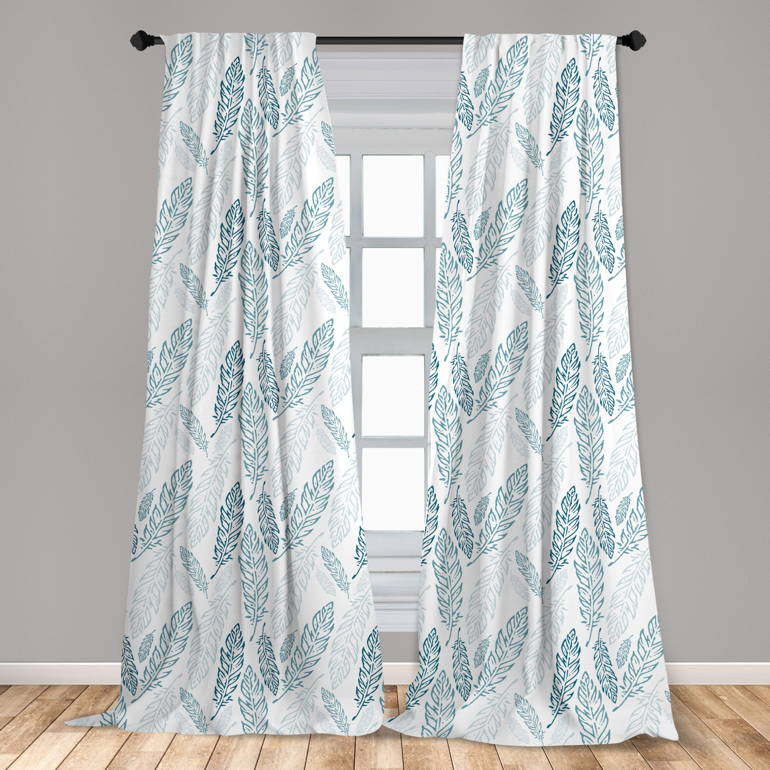Teal And White Curtains 2 Panels Set Pastel Colored Grunge Looking Feathers Flying Bohemian Ethnic Window Drapes For Living Room Bedroom Teal Dark Blue White By Ambesonne Walmart Com Walmart Com