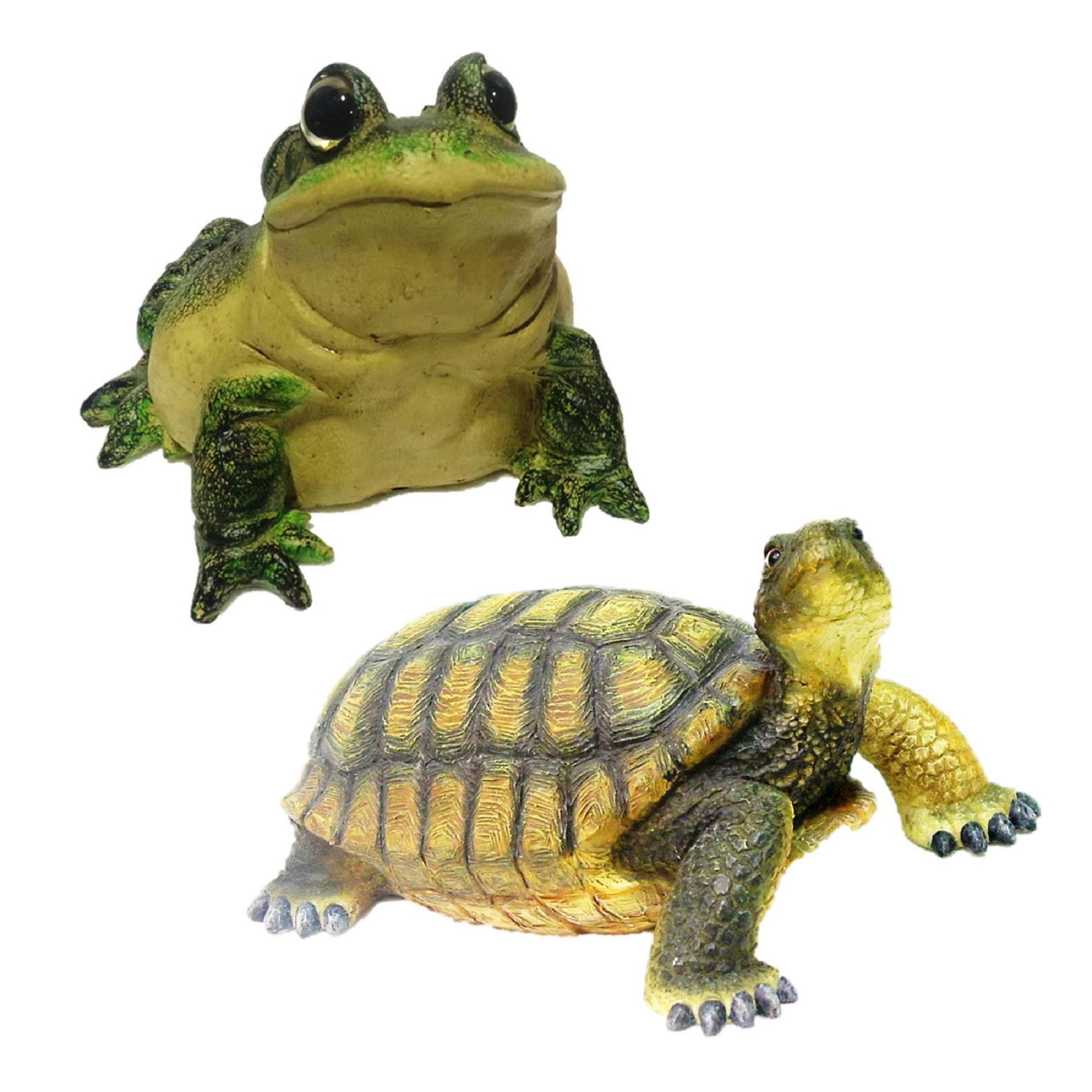 Homestyles Call of the Wild Turtle & Bullfrog Toad Home & Garden Nature Animal Statues 2-Pack
