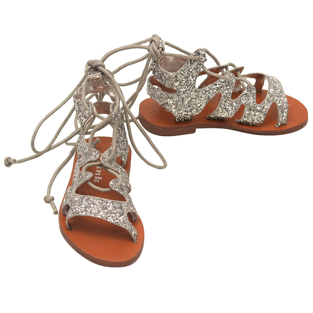 silver lace up gladiator sandals