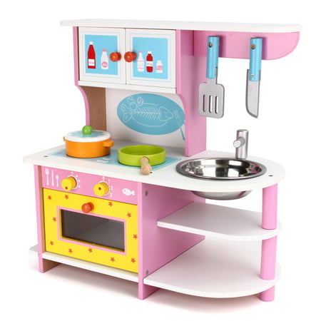 Moaere Wooden Play Kitchen Toy with Wood Kitchen Play Set ...