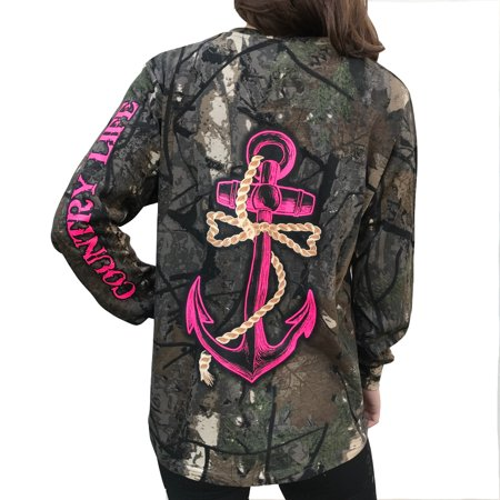 - Country Life Pink Anchor on Camo Long Sleeve Shirt (Medium)