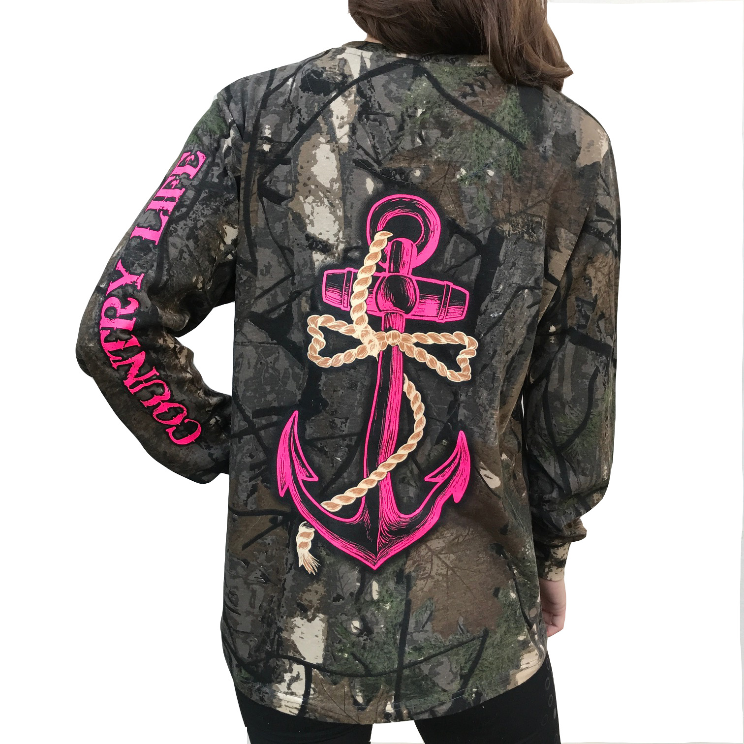 Country Life Pink Anchor on Camo Long Sleeve Shirt (Medium)