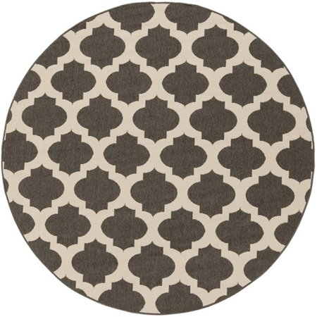 8.75' Moroccan Gateway Espresso Brown and Cream White Shed-Free Square Area Throw Rug (Brown And Cream Rug)