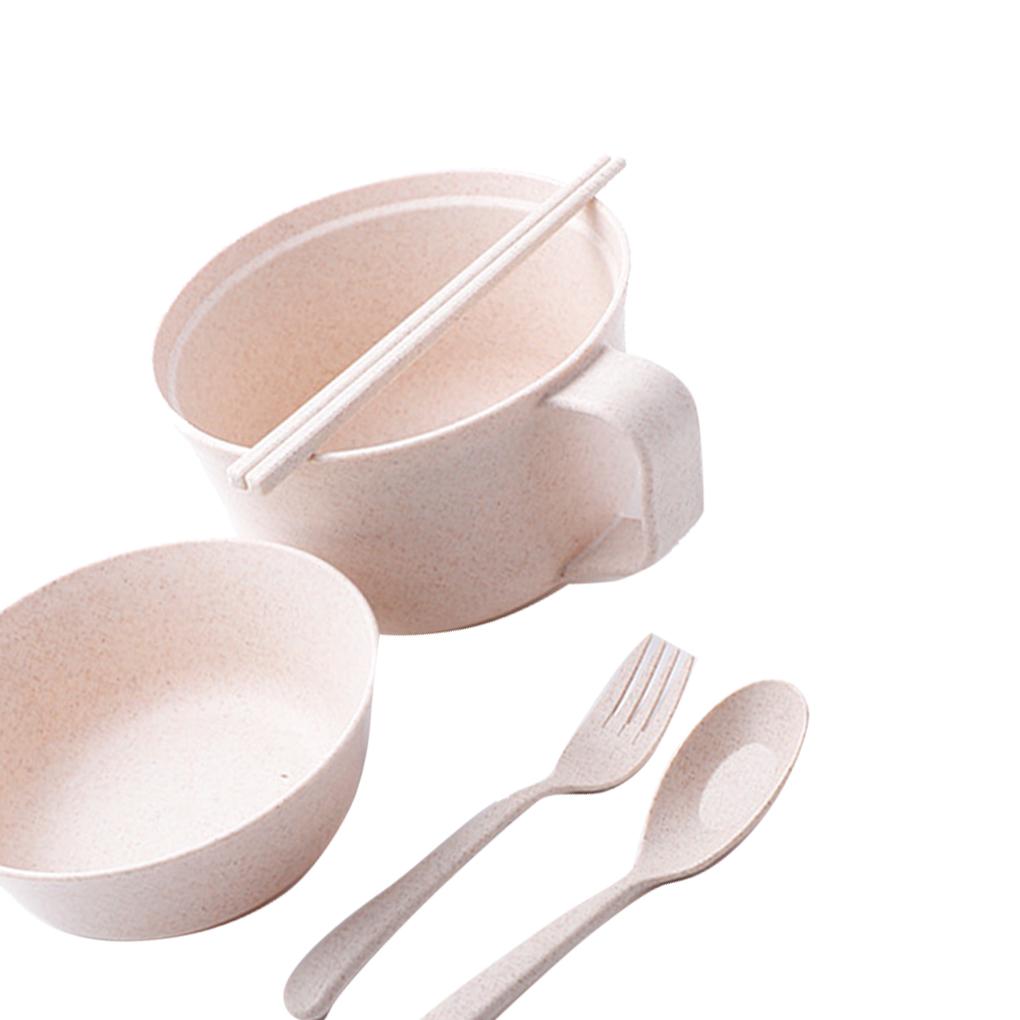 Wheat Straw Pot Set beige Jadeshay Noodle Bowls Wheat Straw Soup Mug with Chopsticks Fork Spoon Bowl Tableware
