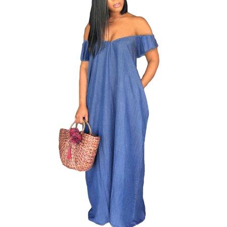 Shoulder Ruffle Trim Dress - Women Sexy Off Shoulder Ruffle Sleeve Denim Long Maxi Dresses