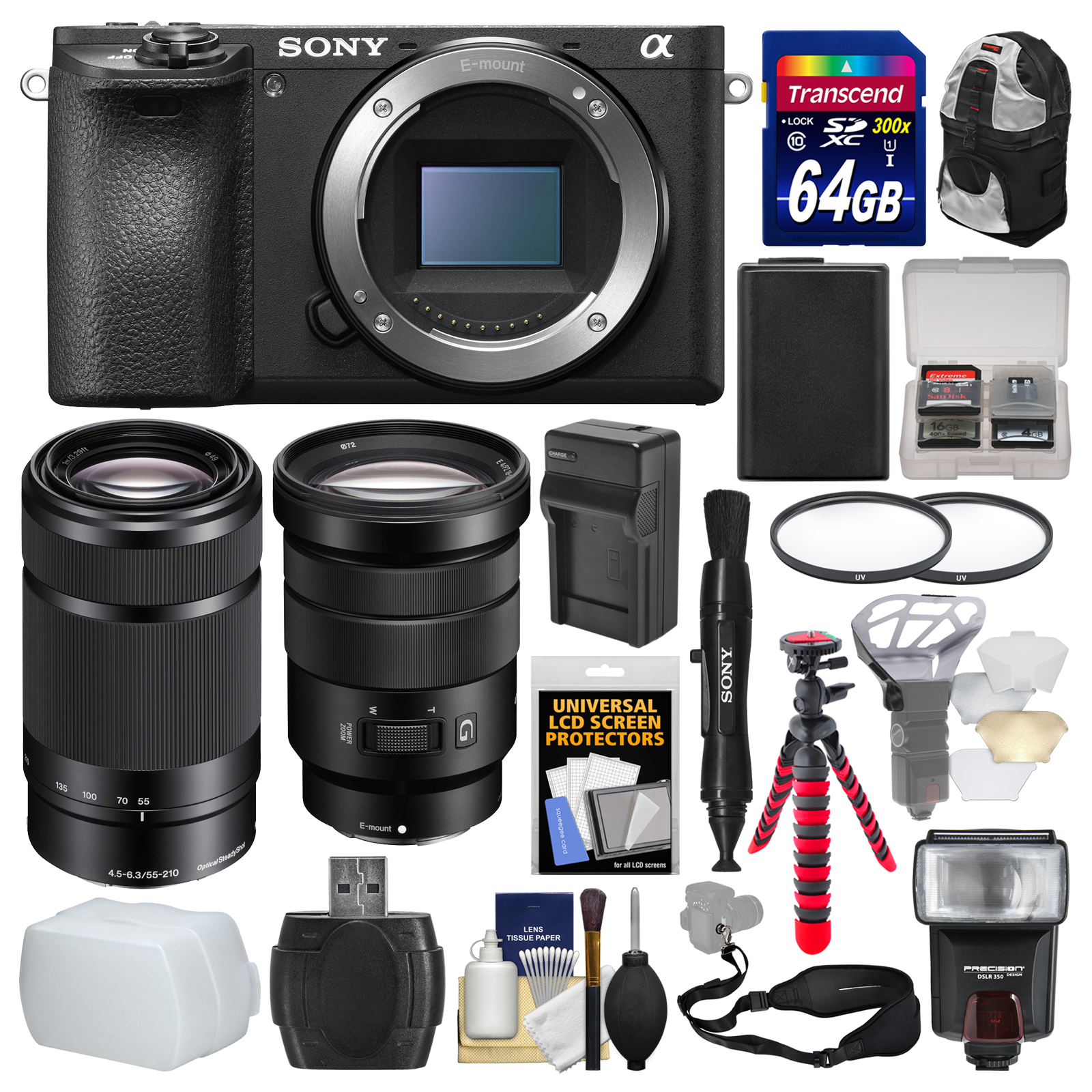 Sony Alpha A6500 4K Wi-Fi Digital Camera Body with 18-105mm f 4 & 55-210mm Lenses + 64GB Card + Backpack +... by Sony