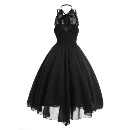 Lace Panel Cross Back Gothic Corset Dress (Gothic Masquerade Dresses)