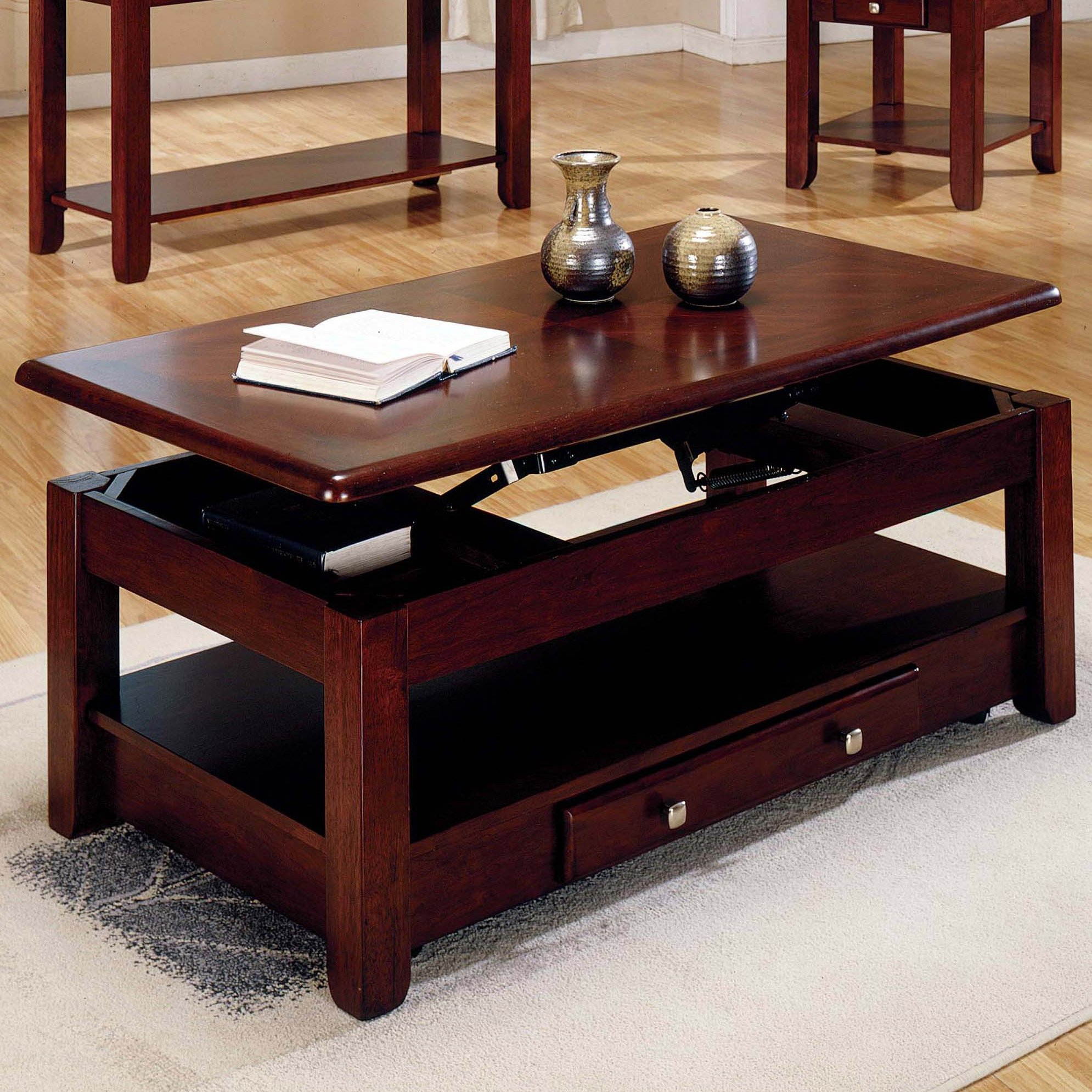 Steve Silver Nelson Lift Top Cocktail Table with Casters Cherry