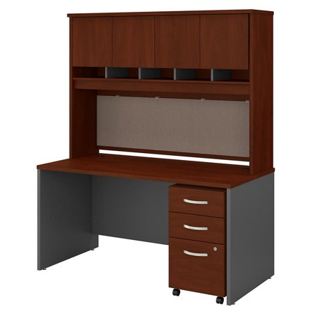Series C 60W Desk with Hutch and Drawers in Hansen Cherry - Engineered Wood