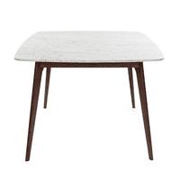 "Senna 39"" Square Italian Carrara White Marble Dining Table with Walnut Legs"