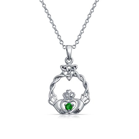 Claddagh Celtic Friendship Heart Shape Pendant Kelly Green Cubic Zirconia CZ .925 Sterling Silver 18 (Green Cubic Zirconia Heart)