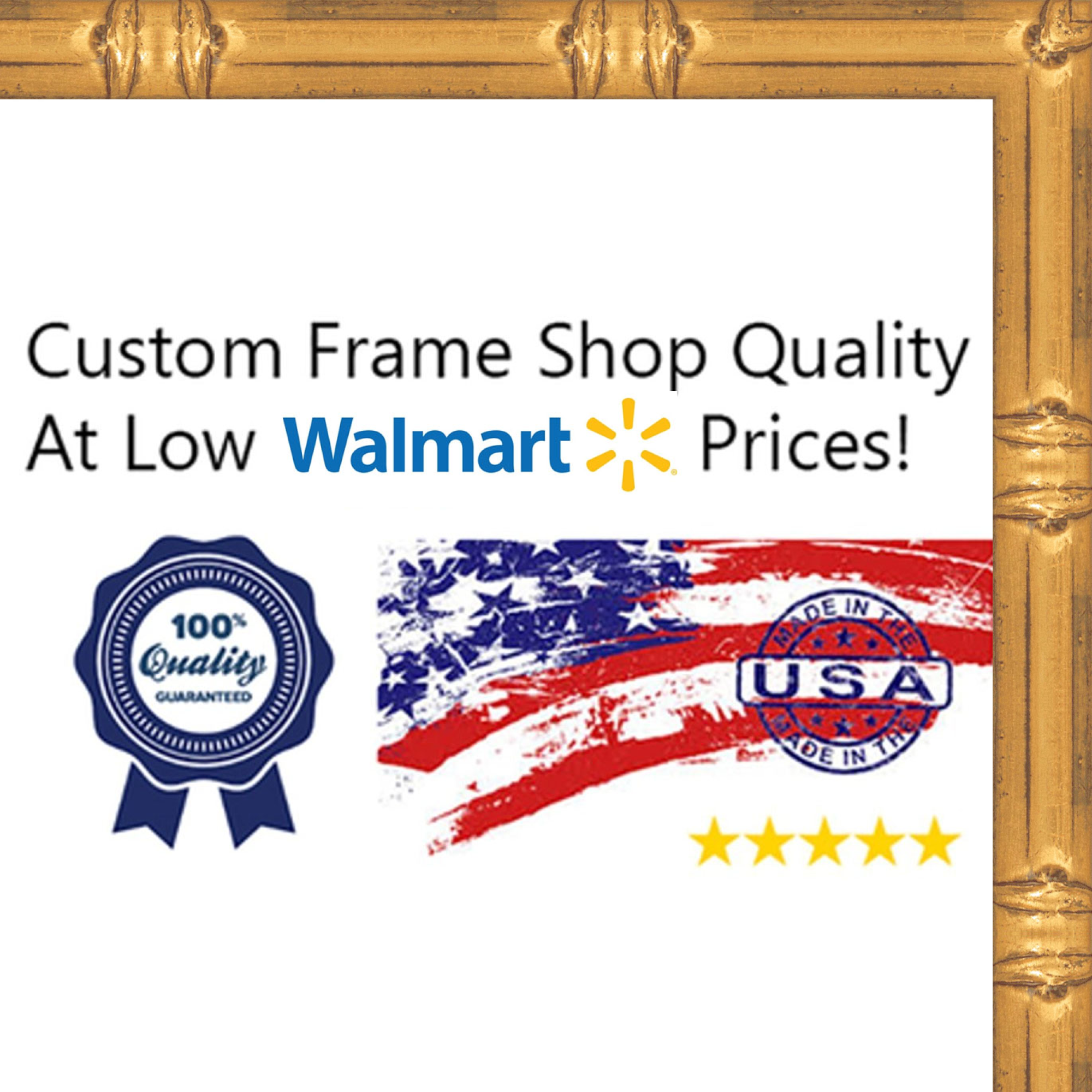 12x12 Solid Gold Bamboo Style Wood Frame - Great for Posters, Photos, Art Prints, Mirror, Chalk Boards, Cork Boards