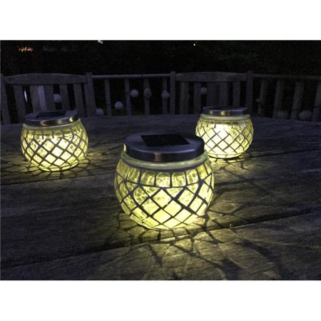 Pomegranate Solutions PM29908 Chartreuse Solar Mosaic Glass Ball Lanterns - Set of 3 - image 1 of 1