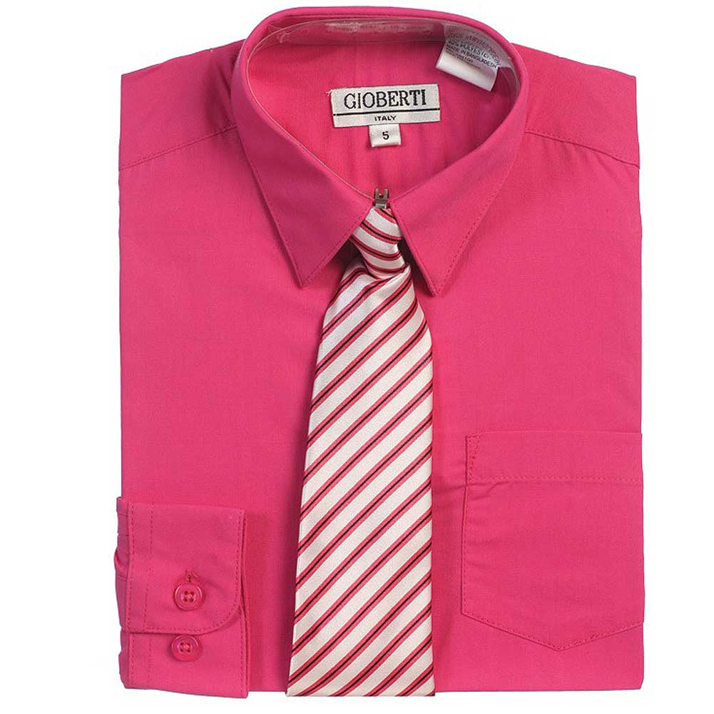 Fuchsia Button Up Dress Shirt Gray Striped Tie Set Boys 5-18