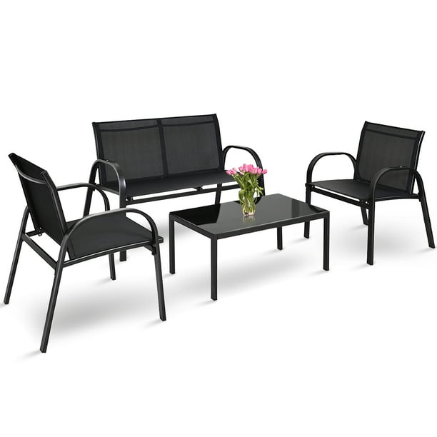 Giantex 4PCS Black Furniture Set Chairs Coffee Table Patio Garden Brand New
